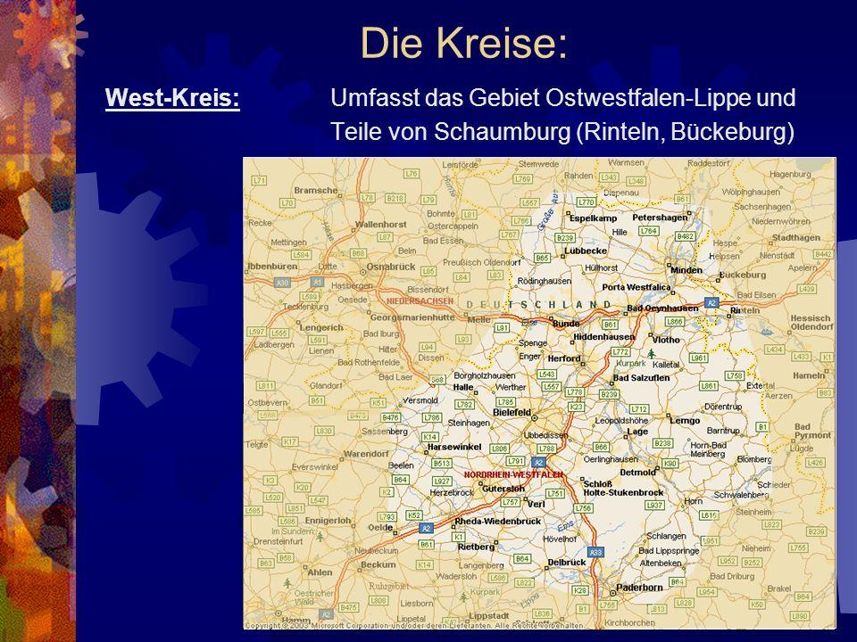 Die Kreise: West-Kreis: Umfasst das Gebiet Ostwestfalen-Lippe und