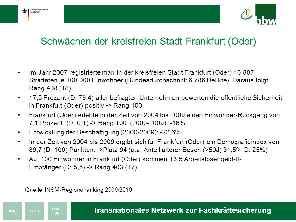 Schwächen der kreisfreien Stadt Frankfurt (Oder)