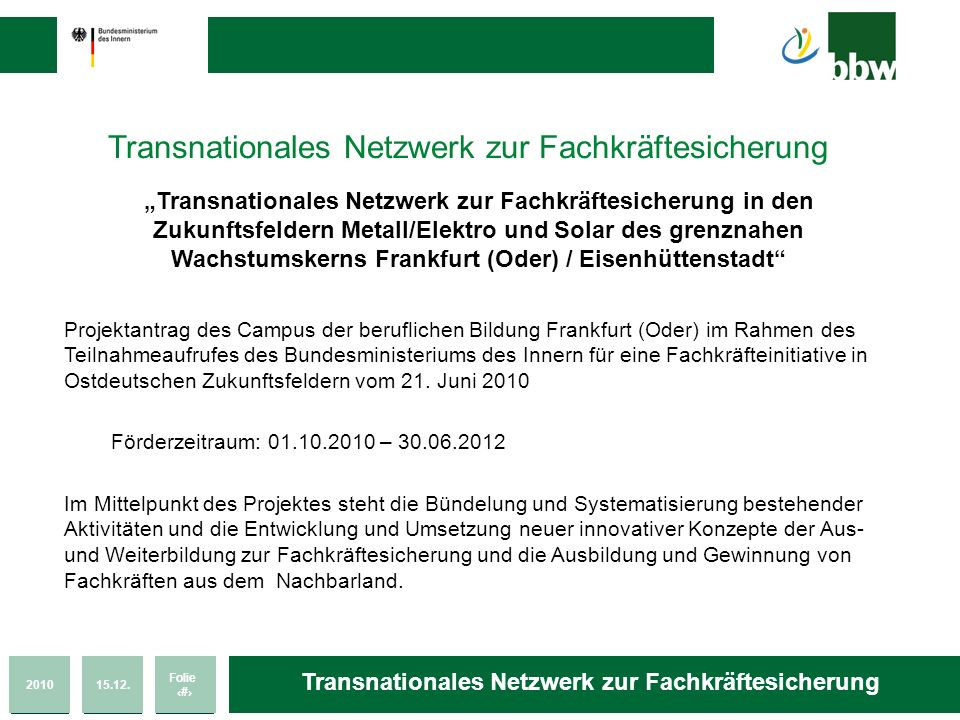 Transnationales Netzwerk zur Fachkräftesicherung