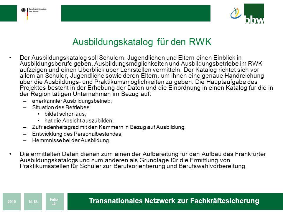 Ausbildungskatalog für den RWK