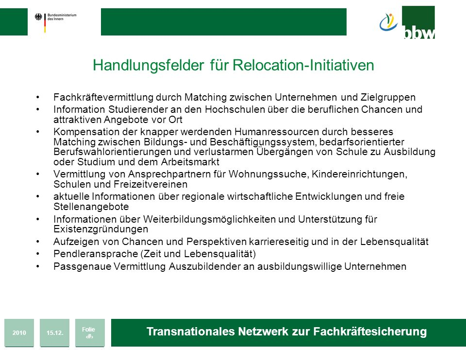 Handlungsfelder für Relocation-Initiativen