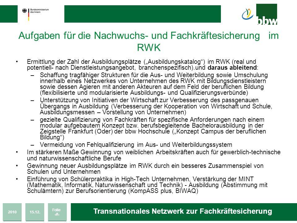 Aufgaben für die Nachwuchs- und Fachkräftesicherung im RWK
