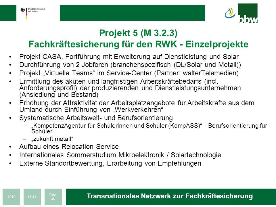 Projekt 5 (M 3.2.3) Fachkräftesicherung für den RWK - Einzelprojekte