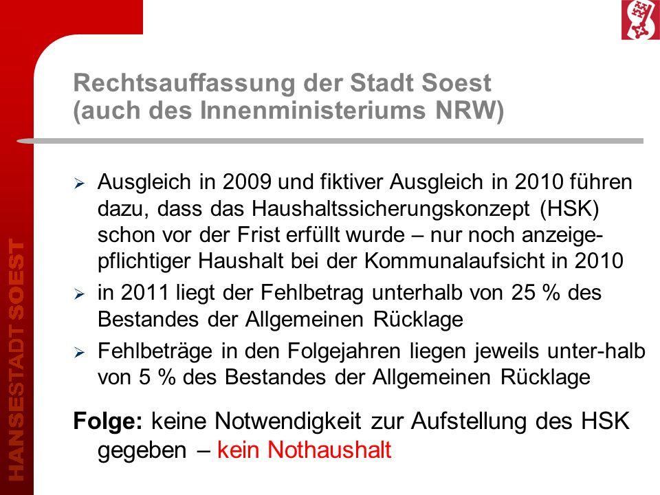 Rechtsauffassung der Stadt Soest (auch des Innenministeriums NRW)