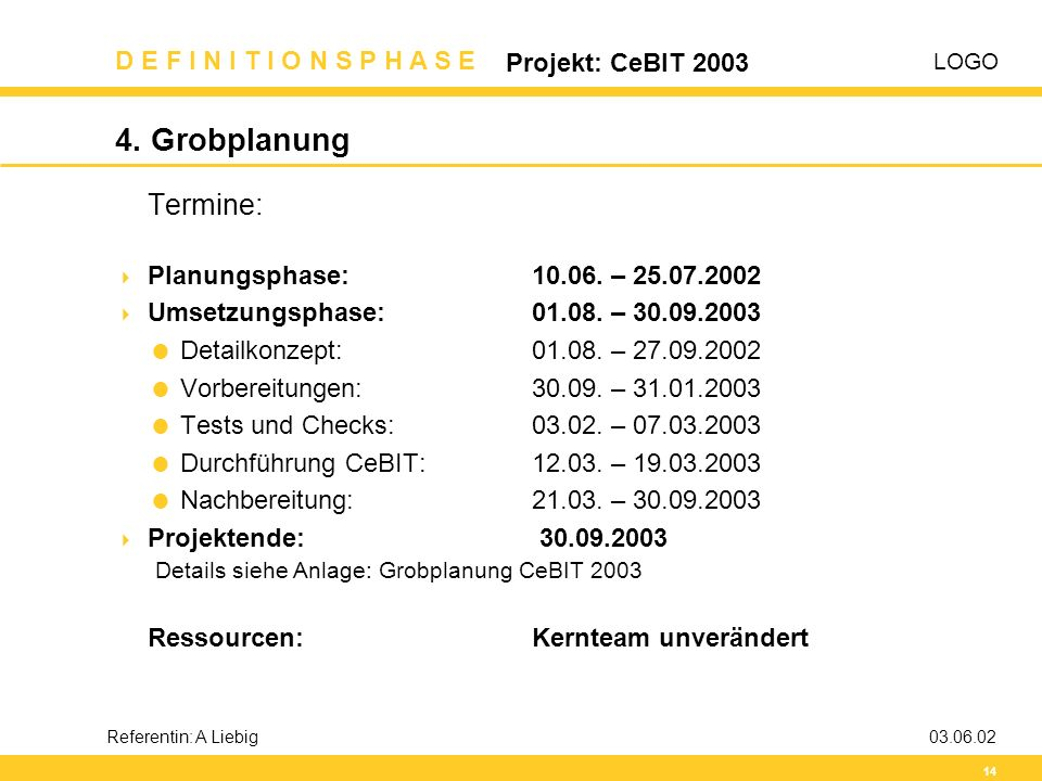 4. Grobplanung Termine: Planungsphase: 10.06. – 25.07.2002