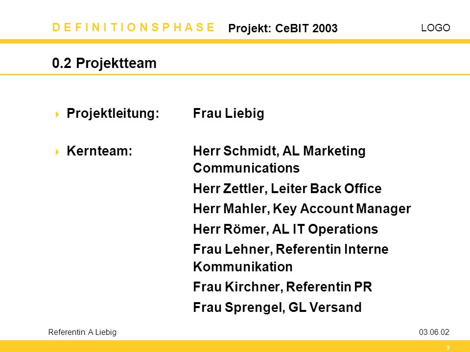 0.2 Projektteam Projektleitung: Frau Liebig
