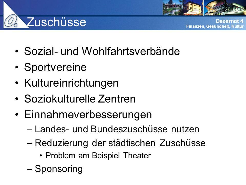 Zuschüsse Sozial- und Wohlfahrtsverbände Sportvereine
