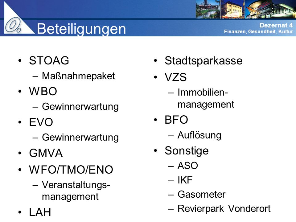 Beteiligungen STOAG WBO EVO GMVA WFO/TMO/ENO LAH Stadtsparkasse VZS