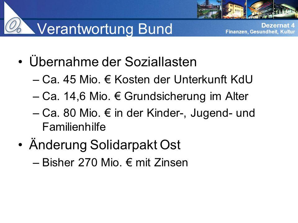 Verantwortung Bund Übernahme der Soziallasten Änderung Solidarpakt Ost