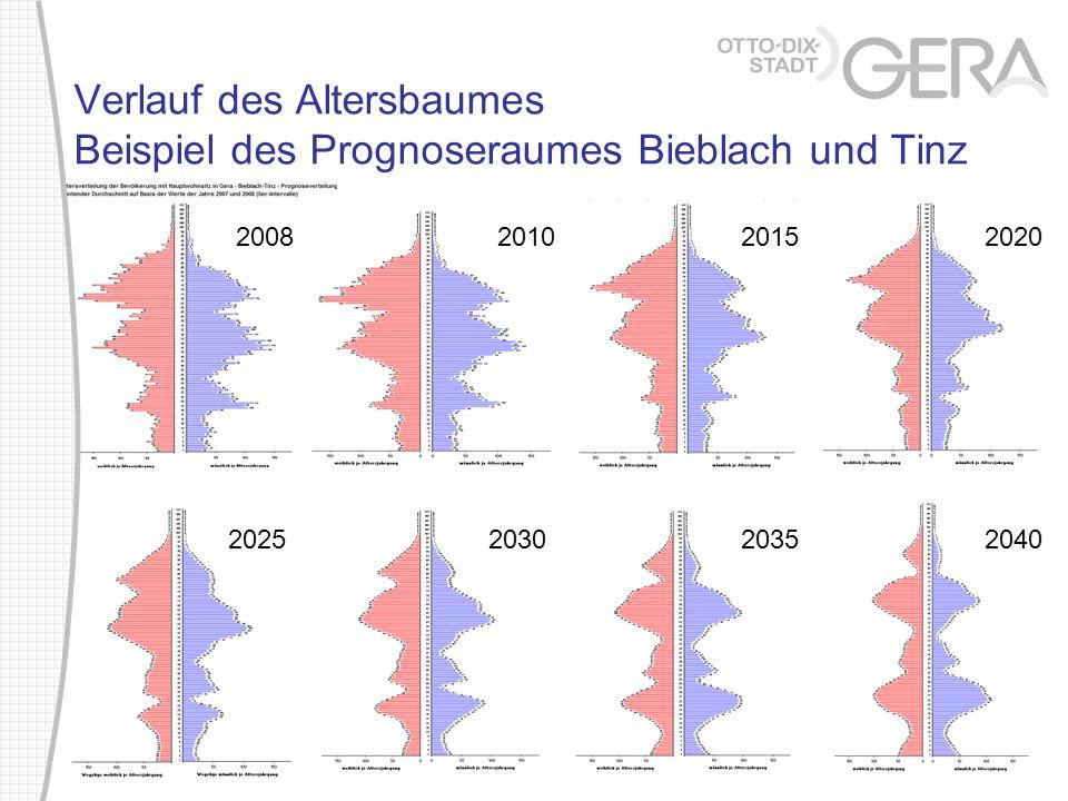 Verlauf des Altersbaumes Beispiel des Prognoseraumes Bieblach und Tinz