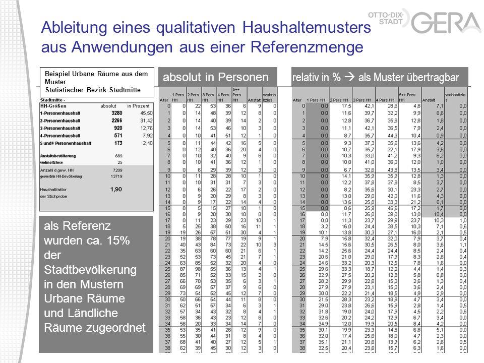 Ableitung eines qualitativen Haushaltemusters aus Anwendungen aus einer Referenzmenge