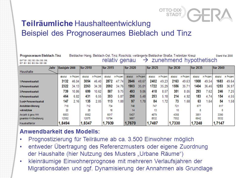 Teilräumliche Haushalteentwicklung Beispiel des Prognoseraumes Bieblach und Tinz