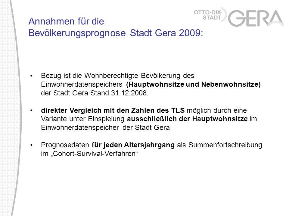 Annahmen für die Bevölkerungsprognose Stadt Gera 2009:
