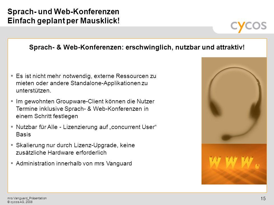 Sprach- und Web-Konferenzen Einfach geplant per Mausklick!