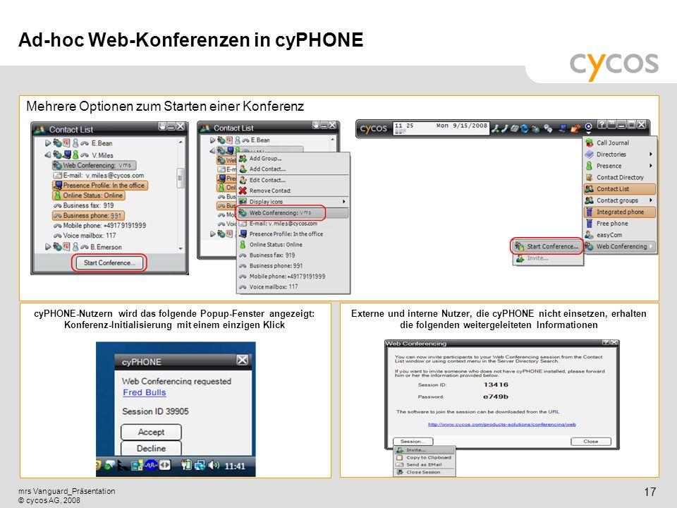 Ad-hoc Web-Konferenzen in cyPHONE