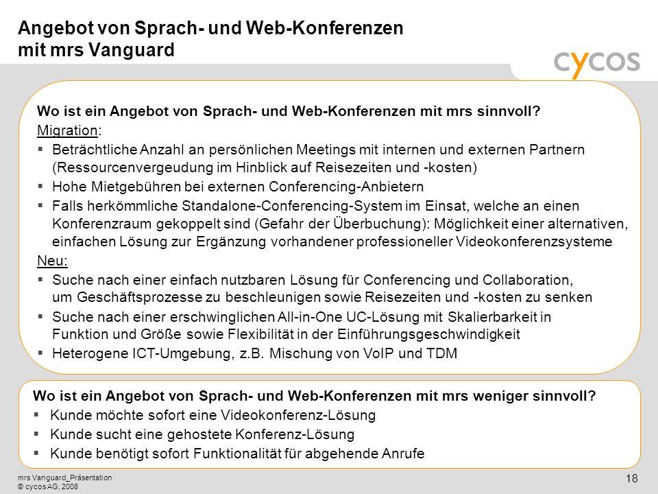 Angebot von Sprach- und Web-Konferenzen mit mrs Vanguard