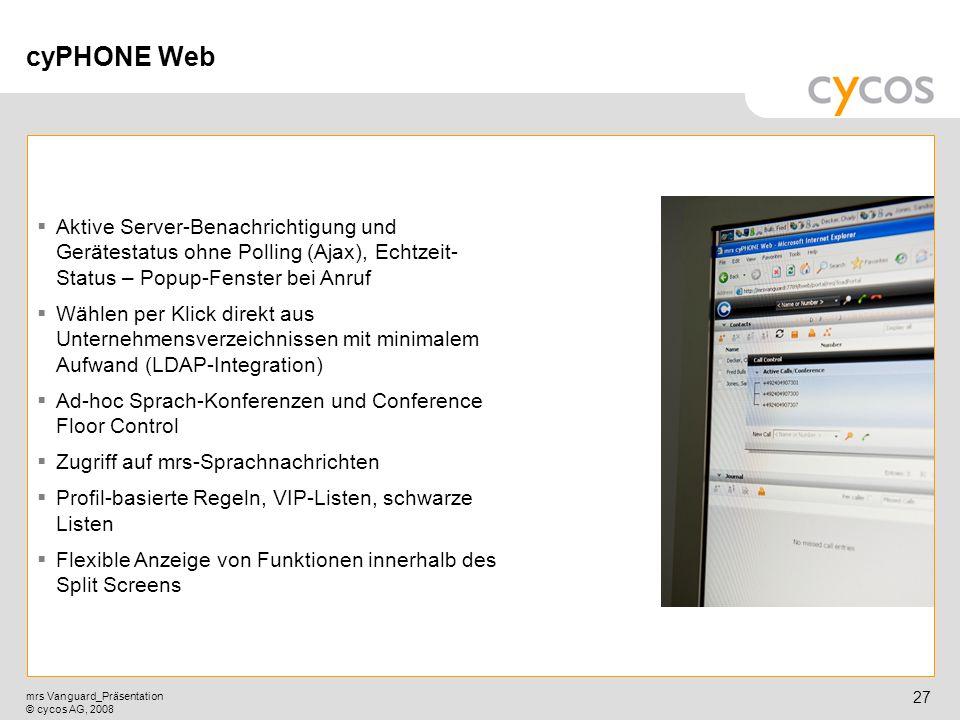 cyPHONE Web Aktive Server-Benachrichtigung und Gerätestatus ohne Polling (Ajax), Echtzeit-Status – Popup-Fenster bei Anruf.