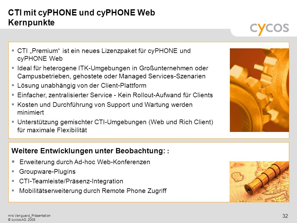 CTI mit cyPHONE und cyPHONE Web Kernpunkte