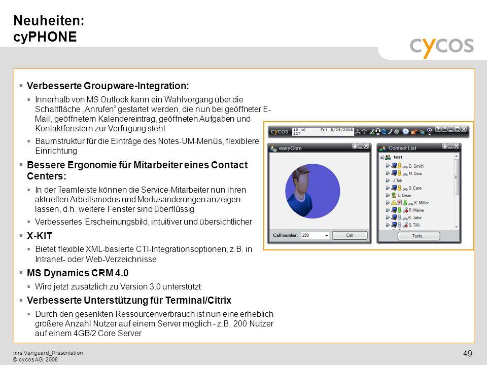 Neuheiten: cyPHONE Verbesserte Groupware-Integration: