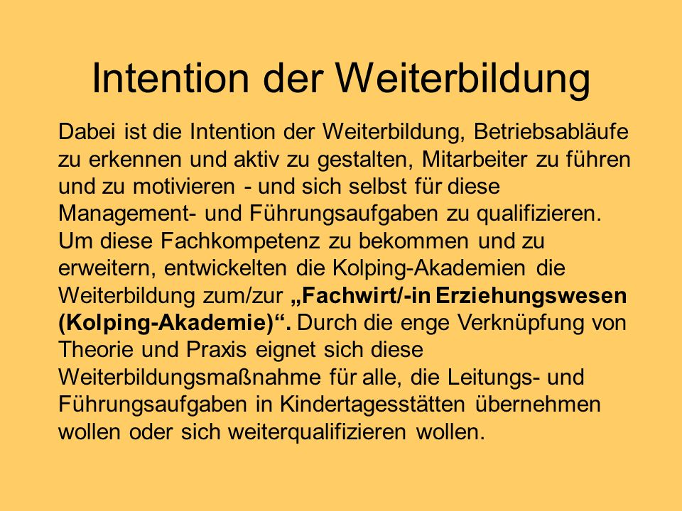 Intention der Weiterbildung