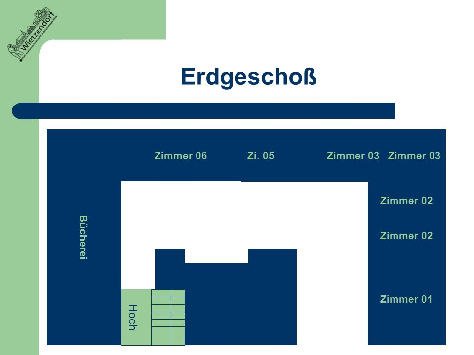Erdgeschoß Hoch Bücherei Zimmer 06 Zi. 05 Zimmer 03 Zimmer 03