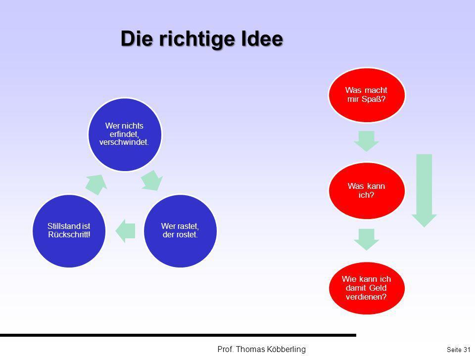 Die richtige Idee Prof. Thomas Köbberling