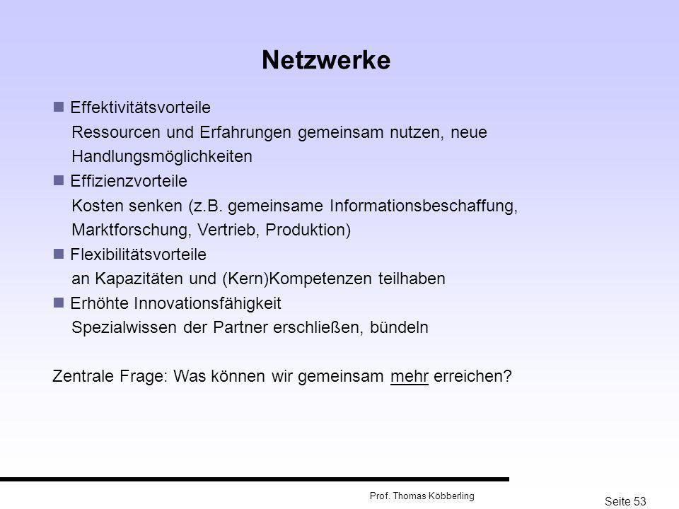 Netzwerke Effektivitätsvorteile Ressourcen und Erfahrungen gemeinsam nutzen, neue Handlungsmöglichkeiten.