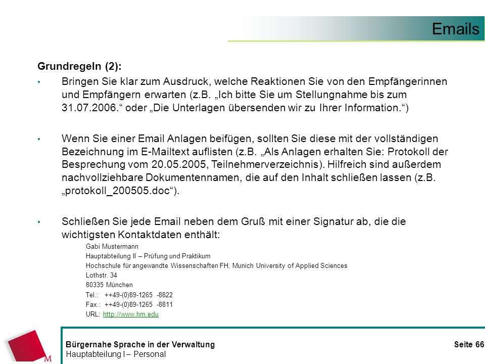 Emails Grundregeln (2):