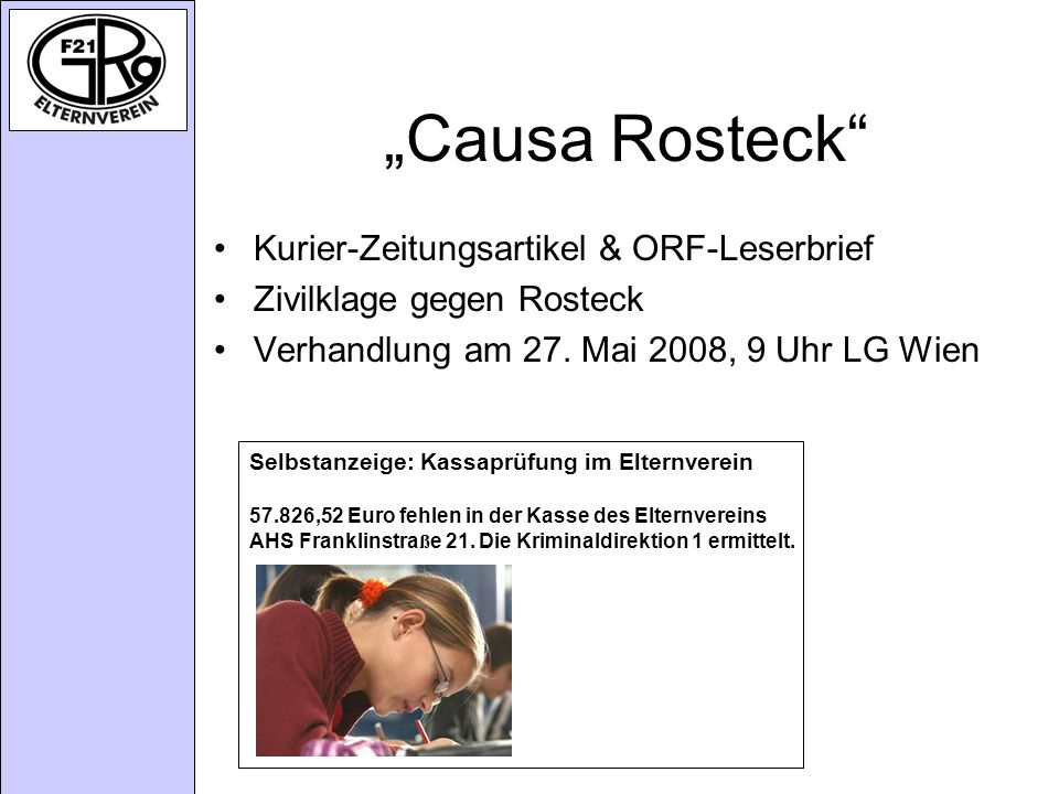 """Causa Rosteck Kurier-Zeitungsartikel & ORF-Leserbrief"