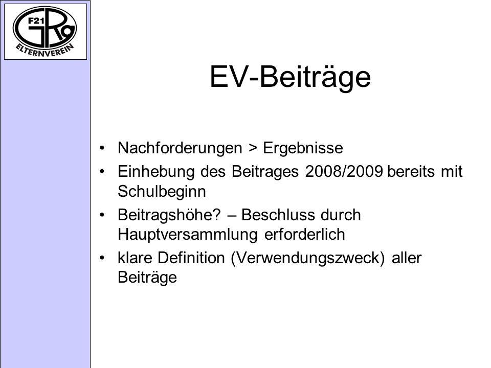 EV-Beiträge Nachforderungen > Ergebnisse