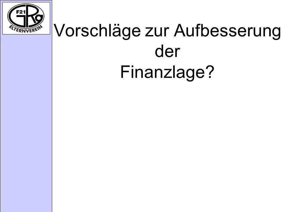 Vorschläge zur Aufbesserung der Finanzlage