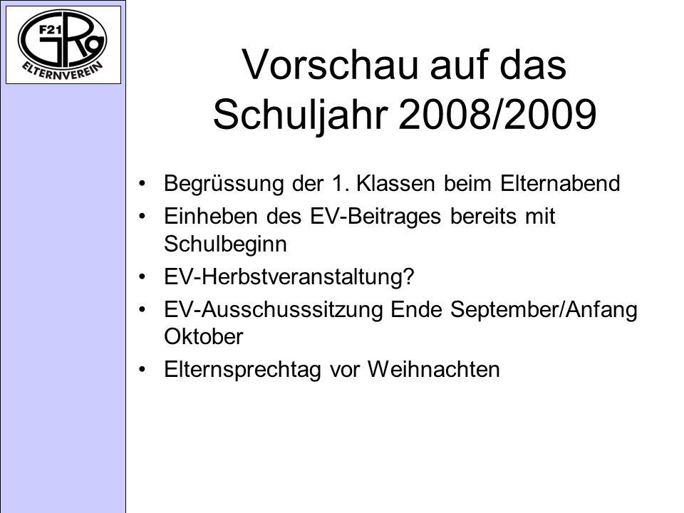 Vorschau auf das Schuljahr 2008/2009
