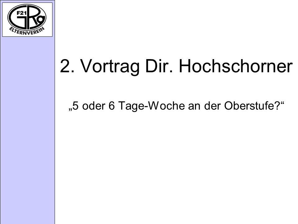 """2. Vortrag Dir. Hochschorner """"5 oder 6 Tage-Woche an der Oberstufe"""