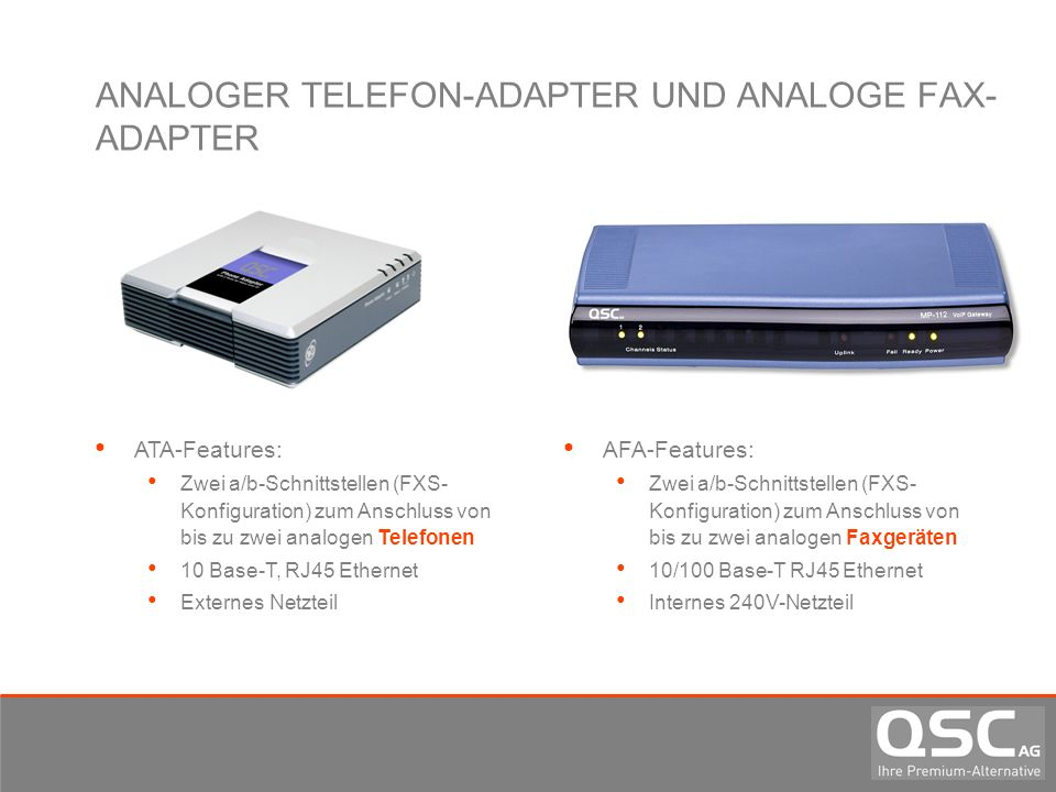 ANALOGER TELEFON-ADAPTER UND ANALOGE FAX-ADAPTER