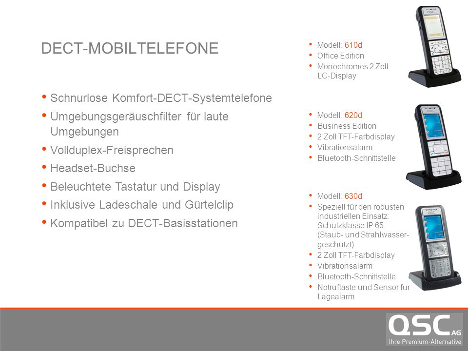 DECT-MOBILTELEFONE Schnurlose Komfort-DECT-Systemtelefone