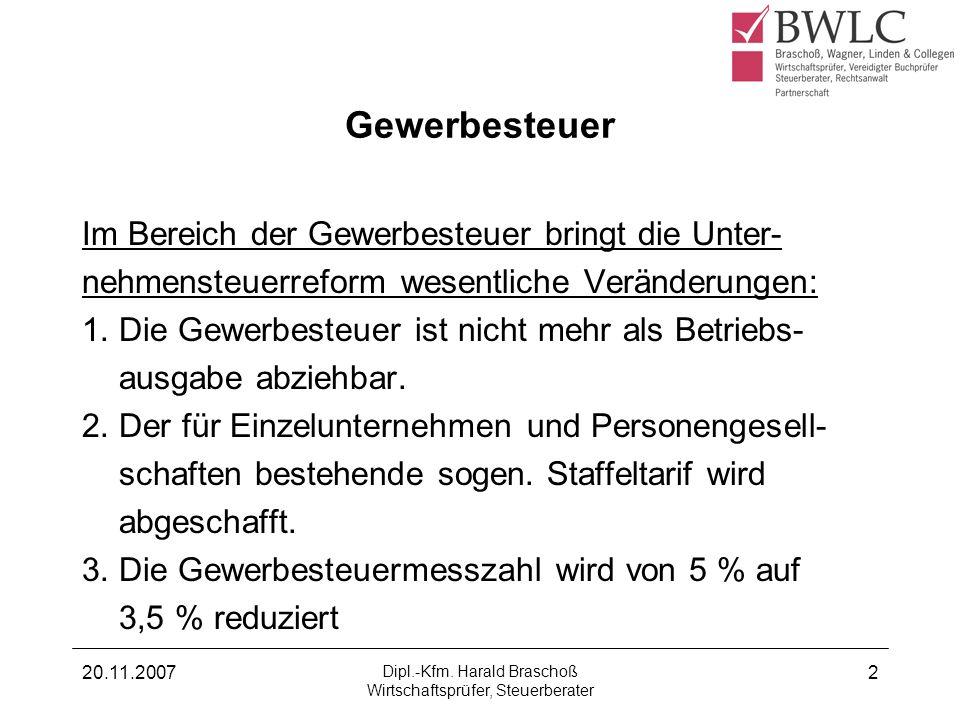 Dipl.-Kfm. Harald Braschoß Wirtschaftsprüfer, Steuerberater