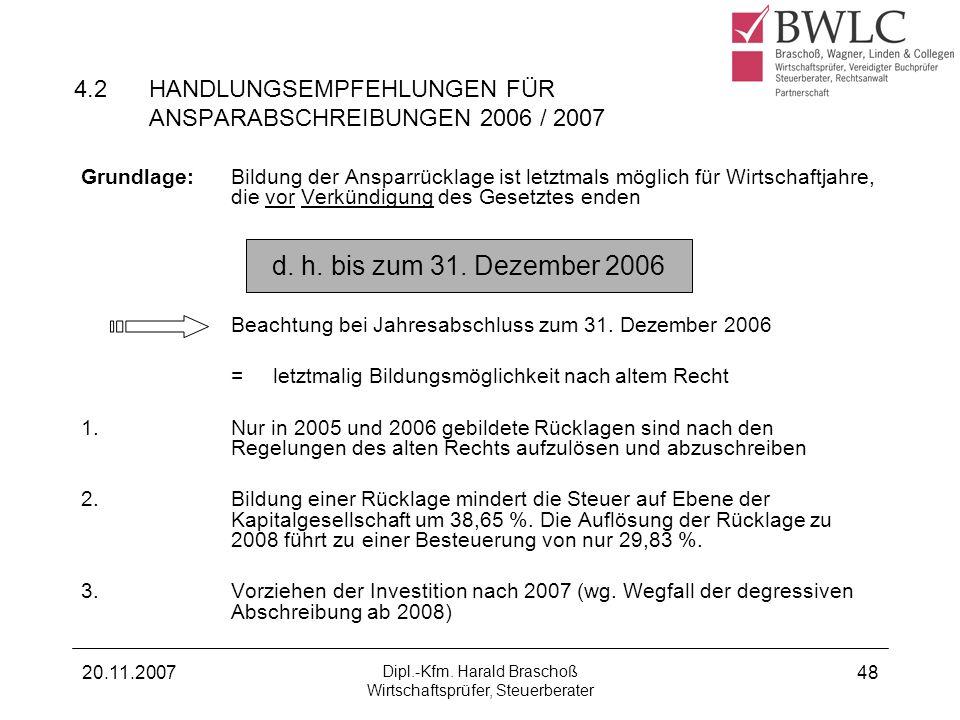 4.2 HANDLUNGSEMPFEHLUNGEN FÜR ANSPARABSCHREIBUNGEN 2006 / 2007