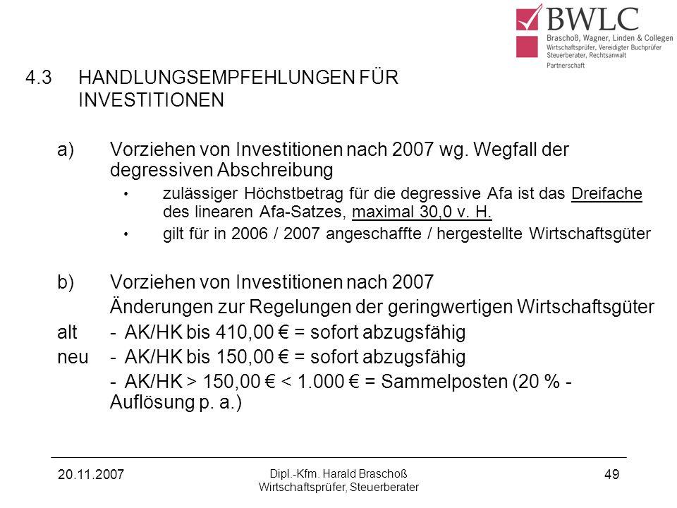 4.3 HANDLUNGSEMPFEHLUNGEN FÜR INVESTITIONEN