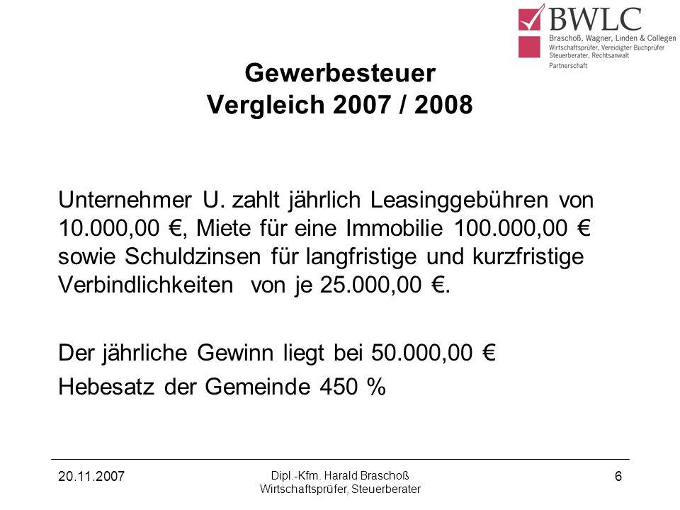 Gewerbesteuer Vergleich 2007 / 2008
