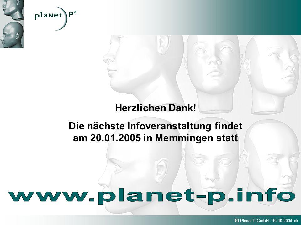 Die nächste Infoveranstaltung findet am 20.01.2005 in Memmingen statt