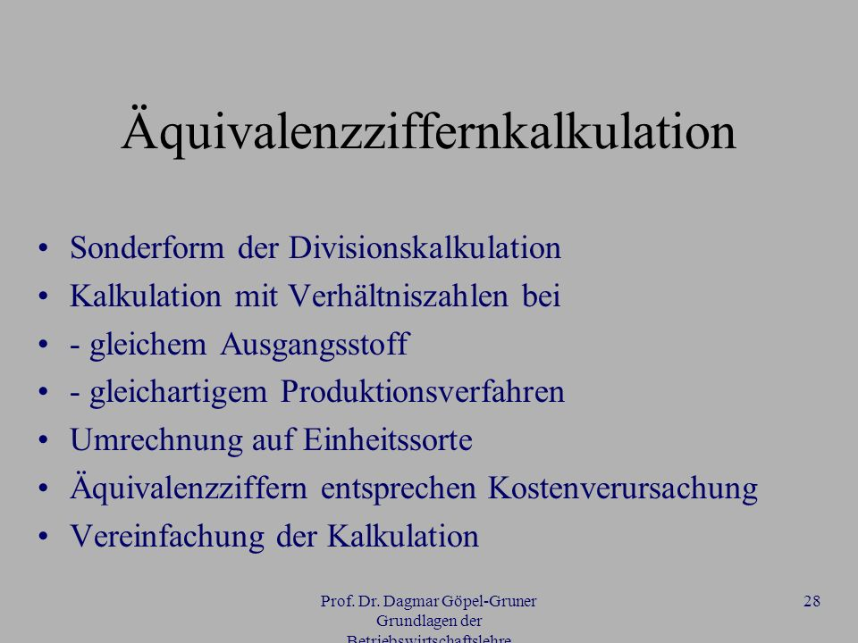 Äquivalenzziffernkalkulation