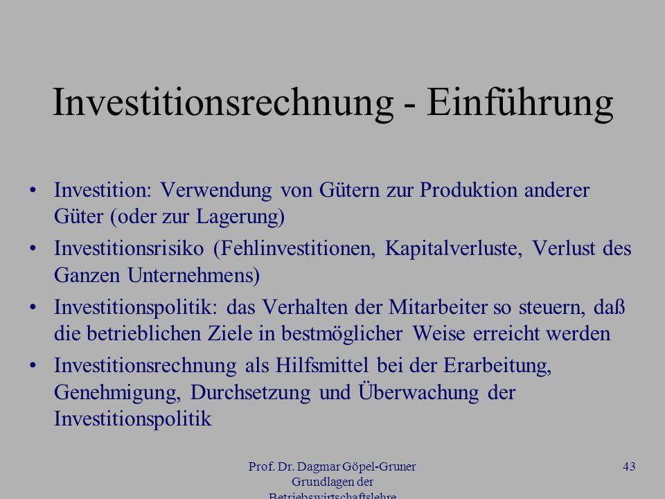 Investitionsrechnung - Einführung