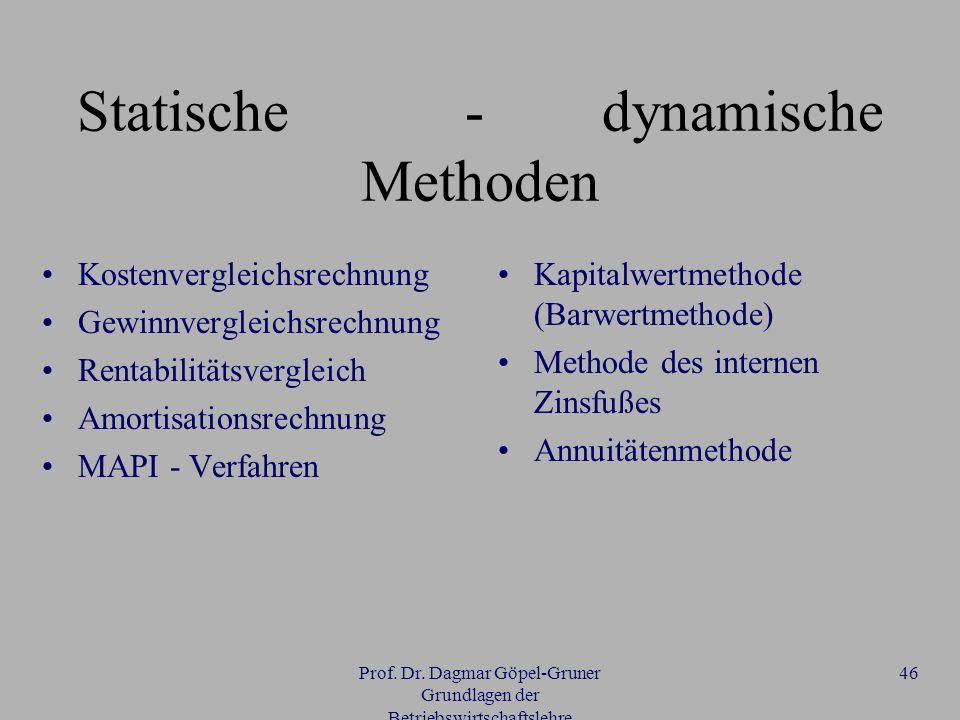 Statische - dynamische Methoden