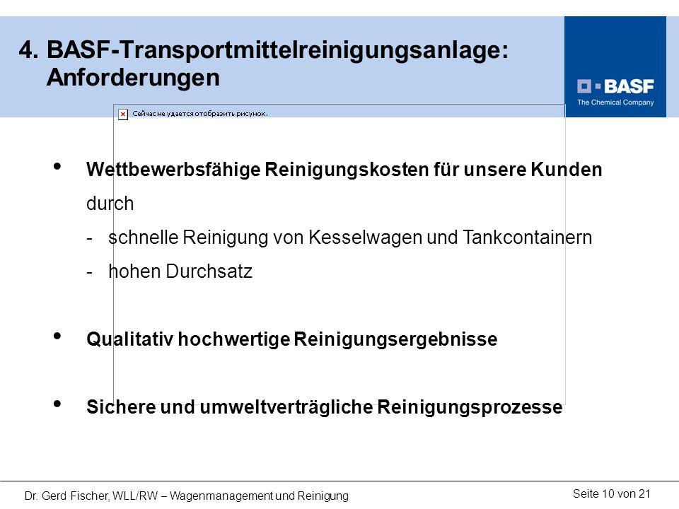 4. BASF-Transportmittelreinigungsanlage: Anforderungen