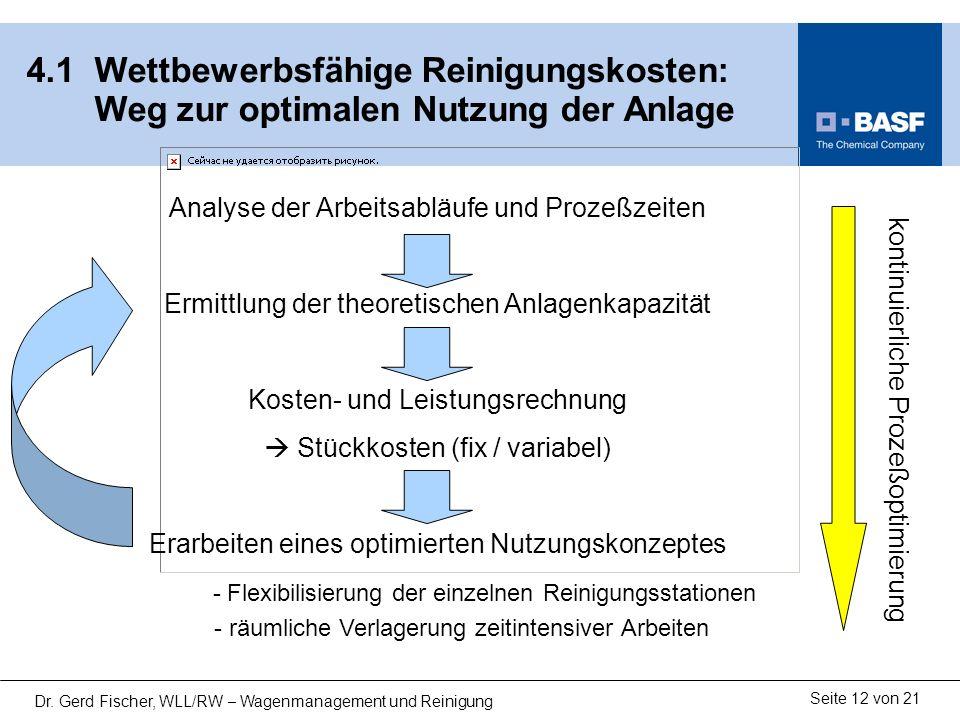 13122-02.ppt 4.1 Wettbewerbsfähige Reinigungskosten: Weg zur optimalen Nutzung der Anlage. Analyse der Arbeitsabläufe und Prozeßzeiten.