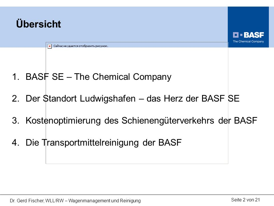 Übersicht BASF SE – The Chemical Company