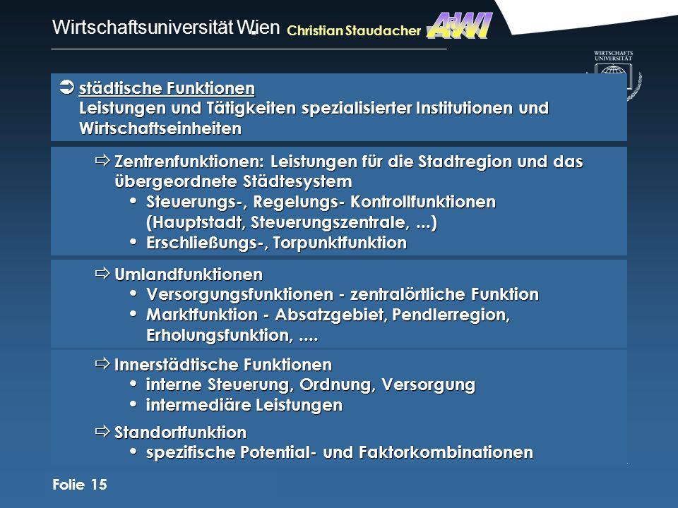 AWIR. Christian Staudacher. städtische Funktionen Leistungen und Tätigkeiten spezialisierter Institutionen und Wirtschaftseinheiten.