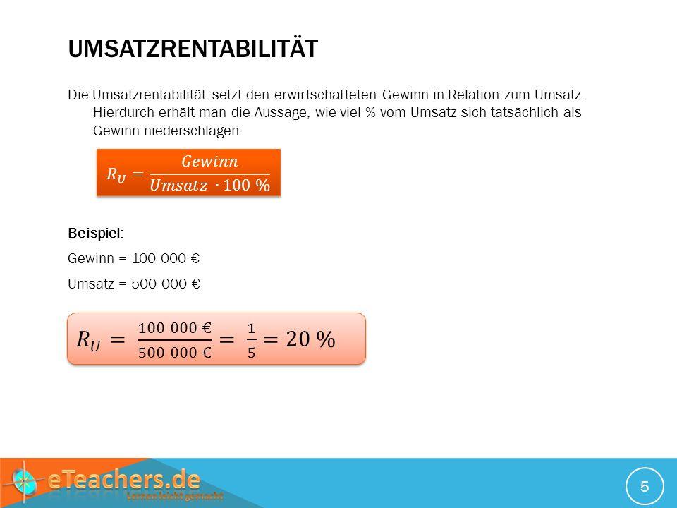 Umsatzrentabilität 𝑅 𝑈 = 100 000 € 500 000 € = 1 5 =20 %
