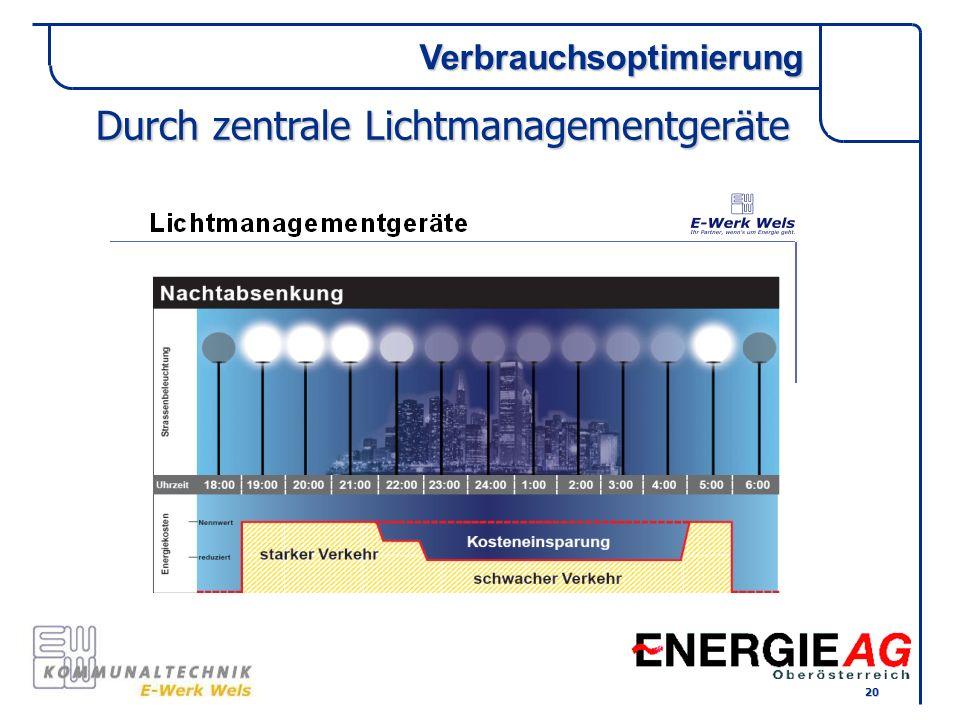 Durch zentrale Lichtmanagementgeräte