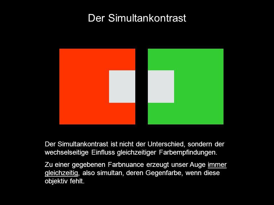 Der Simultankontrast Der Simultankontrast ist nicht der Unterschied, sondern der wechselseitige Einfluss gleichzeitiger Farbempfindungen.